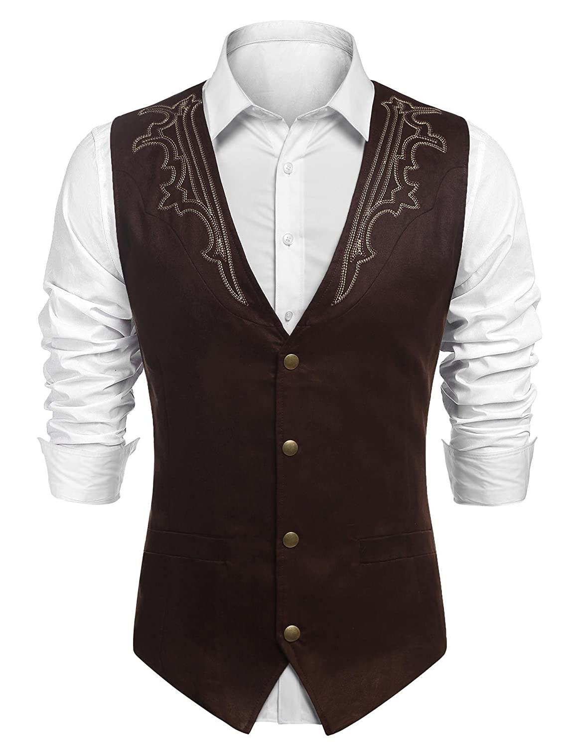 Mens Waistcoat Casual Soft Suede Leather Single-Breasted Vintage Cowboy Suit Vest