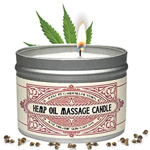Massage Oil Candle For Pure Relaxation - Made From Organic Hemp Seeds Oil - Amazing Gift For Women & Men By Alter Native - Made In The USA - Gardenia Scent - 4 oz