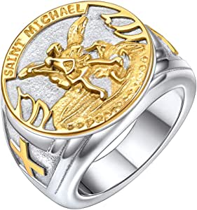 Michael San Miguel The Great Protector Archangel Defeating Satan Figurine Stainless Steel Amulet Ring HZMAN St