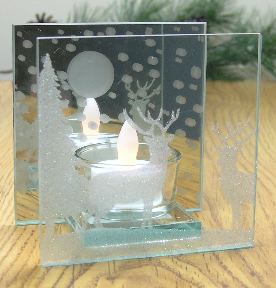 Reindeer Candle Holder - Glittered Christmas Deer Scene Painted on a Mirrored Infinity Candle - White Flameless Tea Light Candle Included