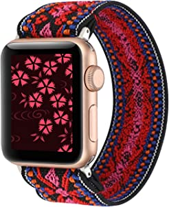 YOSWAN Stretchy Loop Strap Compatible for Apple Watch Band 40mm 38mm 44mm 42mm iWatch Series 6/5/4/3/2/1 Stretch Elastics Wristbelt (Aztec Style Red Pink, 42mm/44mm)