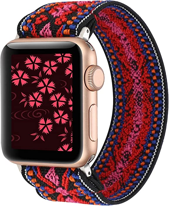 YOSWAN Stretchy Loop Strap Compatible for Apple Watch Band 40mm 38mm 44mm 42mm iWatch Series 6/5/4/3/2/1 Stretch Elastics Wristbelt (Aztec Style Red Pink, 38mm/40mm)