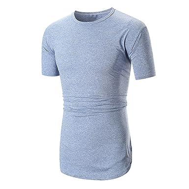 911f3dc11a87d URSING Hommes T-Shirt Été Mode Décontractée Loisirs Sports Mince Fit Col  Rond Chemise Tee