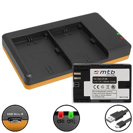 Batería + Cargador Doble (USB) para Canon LP-E6(N) / EOS 5D Mark ...