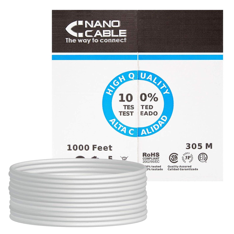 NANOCABLE 10.20.0304 - Cable de Red Ethernet rigido RJ45 Cat.5e UTP AWG24, Gris, Bobina de 305mts: Nanocable: Amazon.es: Informática