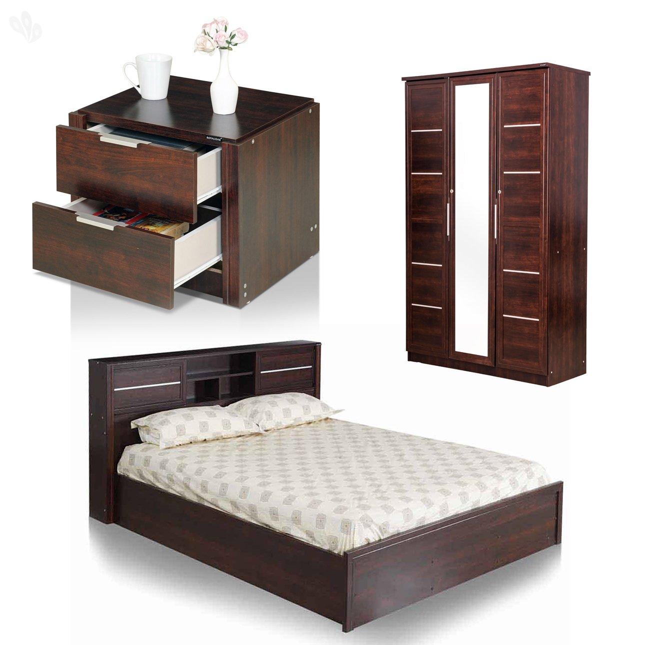size 40 88099 c7185 Royal Oak Milan Bedroom Set with Queen Bed, 3 Door-Wardrobe and Bedside  Table (Walnut)