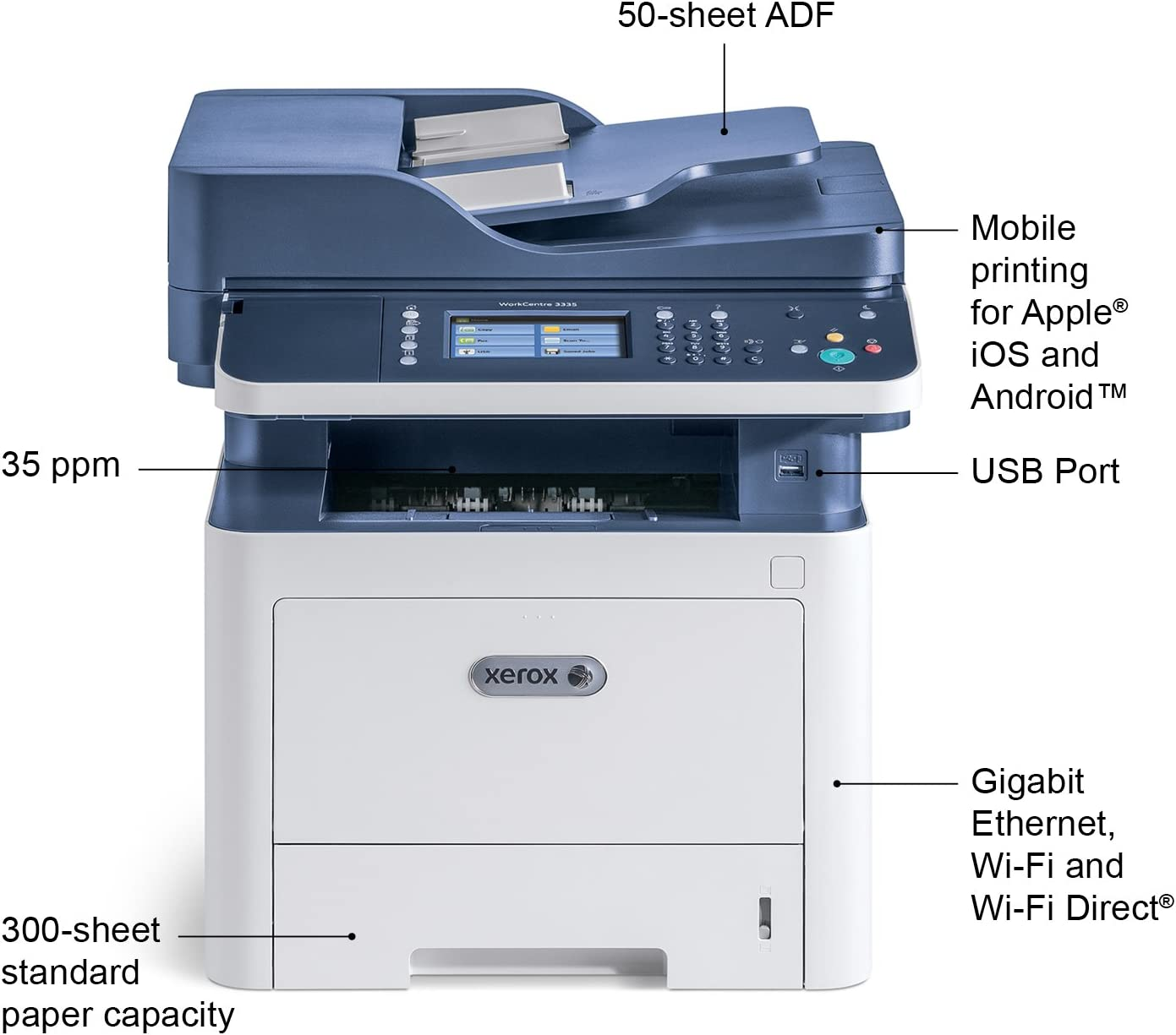 Xerox WorkCentre 3335//DNI Monochrome Multifunction Printer Blue//white Dash Replenishment Enabled