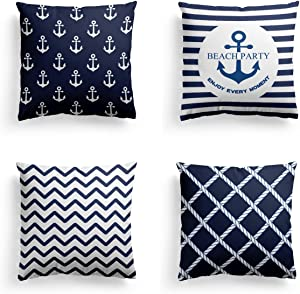 "Navy Blue Christmas Thanksgiving Decorative Throw Pillow Covers 4 pack Square Nautical Theme Velnet Standard Throw Pillow Case Set of 4 for Couch Sofa- Cushion Cover Set 18""x 18"",Print Two Side"