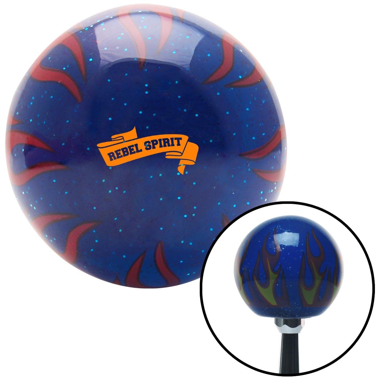 American Shifter 298607 Shift Knob Orange Rebel Spirit Blue Flame Metal Flake