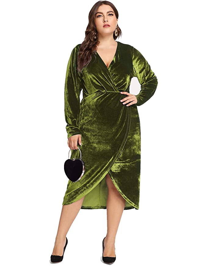 60s 70s Plus Size Dresses, Clothing, Costumes ESPRLIA Womens Plus Size High Waist Velvet Sexy Faux Wrap Pencil Cocktail Midi Dresses $29.99 AT vintagedancer.com