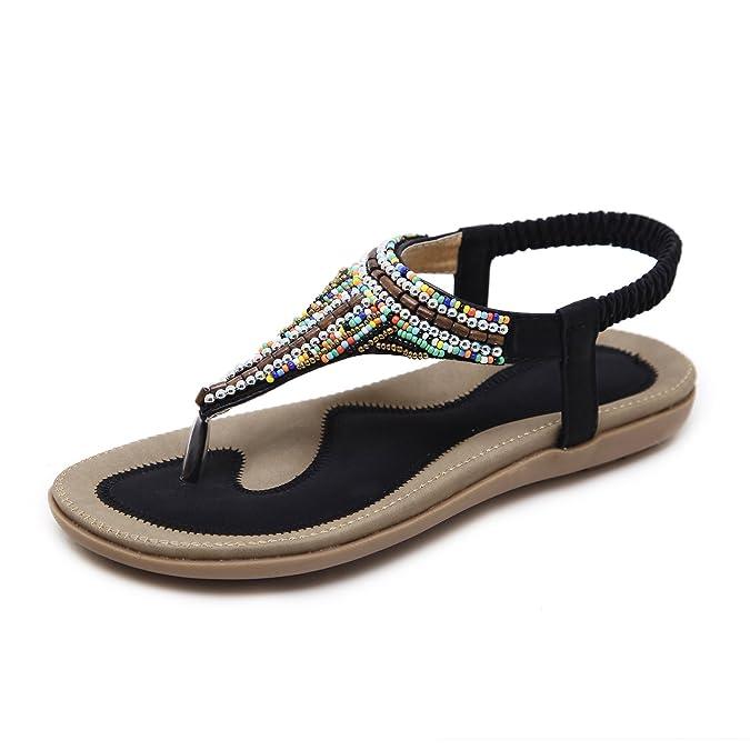 Damen Sommer Sandalen Strass Böhmen Strand Clip Toe Niedrigem Absatz T-Strap Schuhe, Aprikose, 38