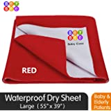 BeyBee Premium Quick Dry Mattress Protector Baby Cot Sheet (Large, Red)