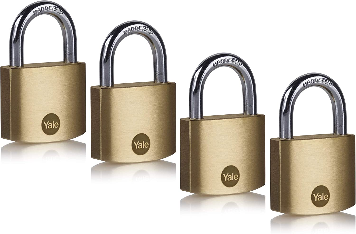 4 x YALE SECURITY PADLOCKS 40mm SOLID BRASS ALL PADLOCKS HAVE DIFFERENT KEYS