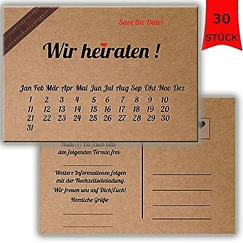 Save The Date Karten Postkarten Vintage Mit Text Hochzeit Liebe Heirat  Einladung Verkündung Kraftpapapier Look