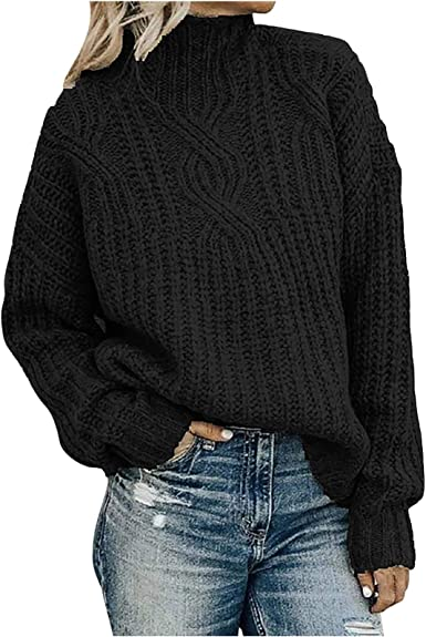 HIRIRI Turtleneck Women Sweater Long Sleeve Solid Color Casual Blouse Soft Warm Pure Color Slouchy Shirt