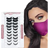 tuokiy Reusable Magnetic Eyelash Kit with Eyeliner 10 Pairs Natural look False Eyelash with Applicator for Easy to apply