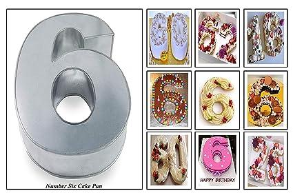 Euro Tins molde para tarta de cumpleaños de número grande SEIS 6 (tamaño 35,