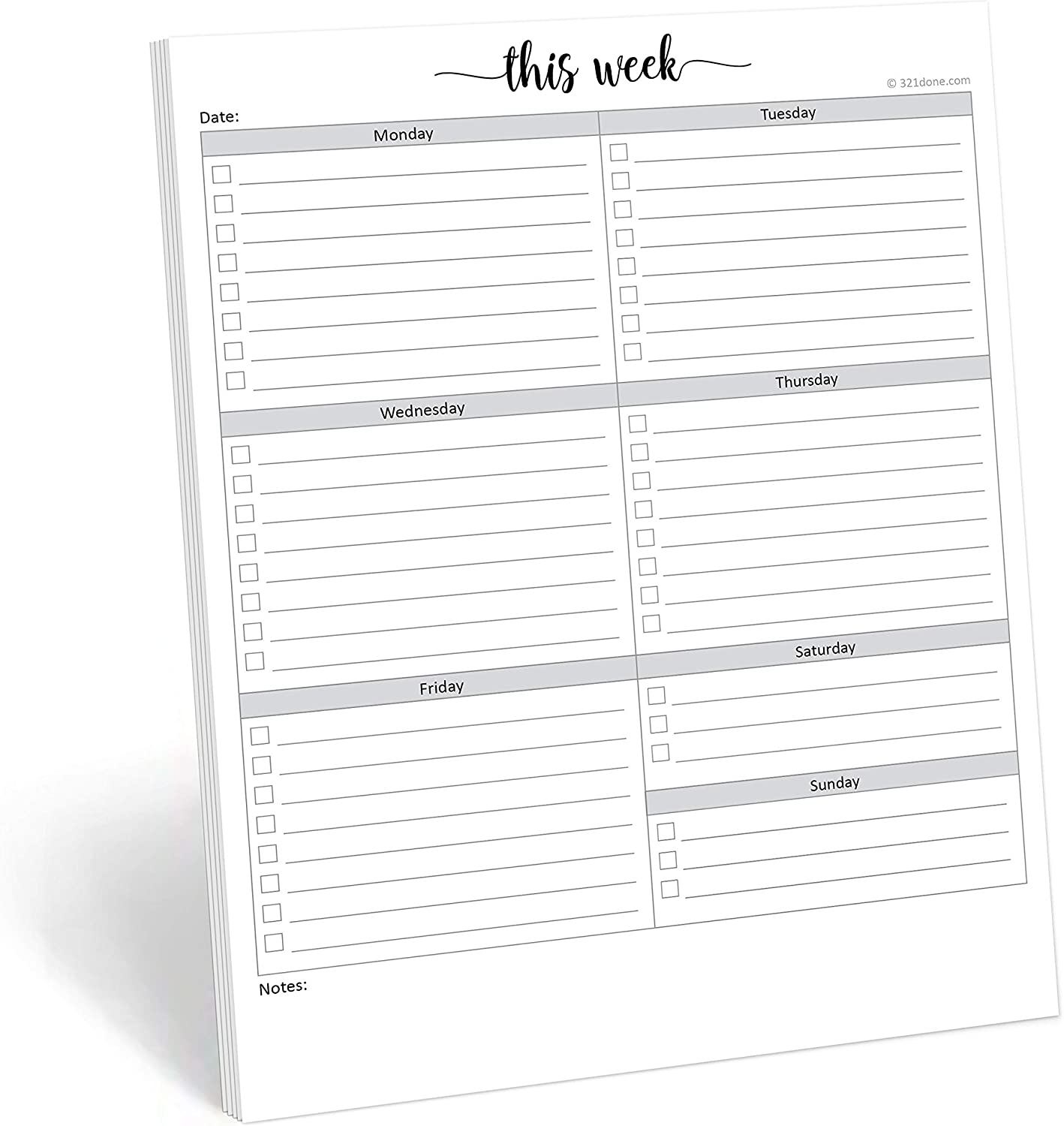 """321Done Weekly Checklist Planning Pad - 50 Sheets (8.5"""" x 11"""") - This Week to Do Notepad Tear Off, Desktop Planner Large Letter-Size - Made in USA - Simple Script"""
