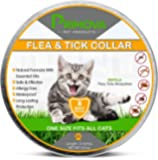 Flea and Tick Collar for Cats - Natural Prevention Treatment 8 Months Protection with Premium Quality Essential Oils - Hypoallergenic -Adjustable & Waterproof - One Size Fits all Kittens