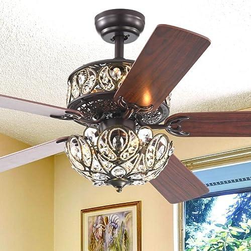 52-inch Crystal Ceiling Fan Light Fixture