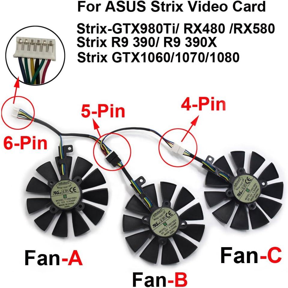 Ventilador de refrigeraci/ón para Tarjeta gr/áfica ASUS Strix GTX980Ti//R9390//RX480//RX580 de 87 mm T129215SU