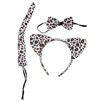 cfc4a32dacd1 Snow Leopard Spots Wild Animal Cat Ears Band Bow Tail Fancy Dress Up Set