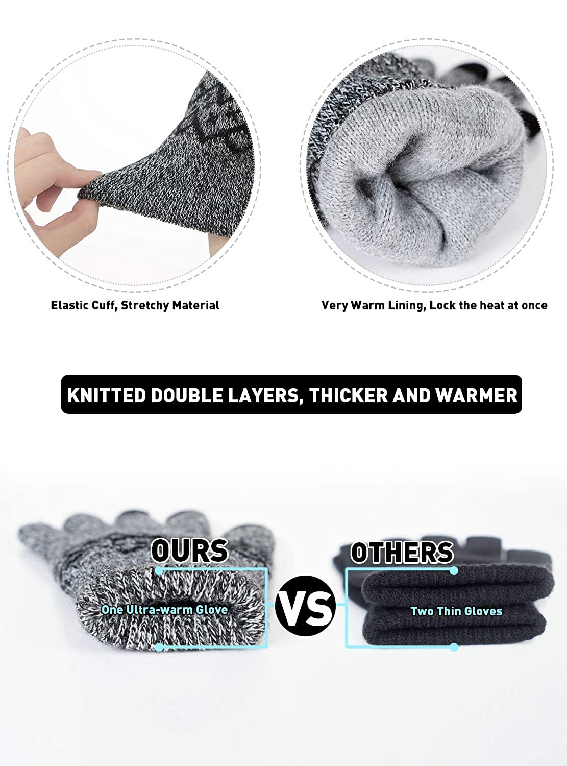 -29℃ Stretchy Material Hands Warm in Cold Weather TRENDOUX -20/°F Double Thickened Thermal Winter Gloves Men Women Touch Screen