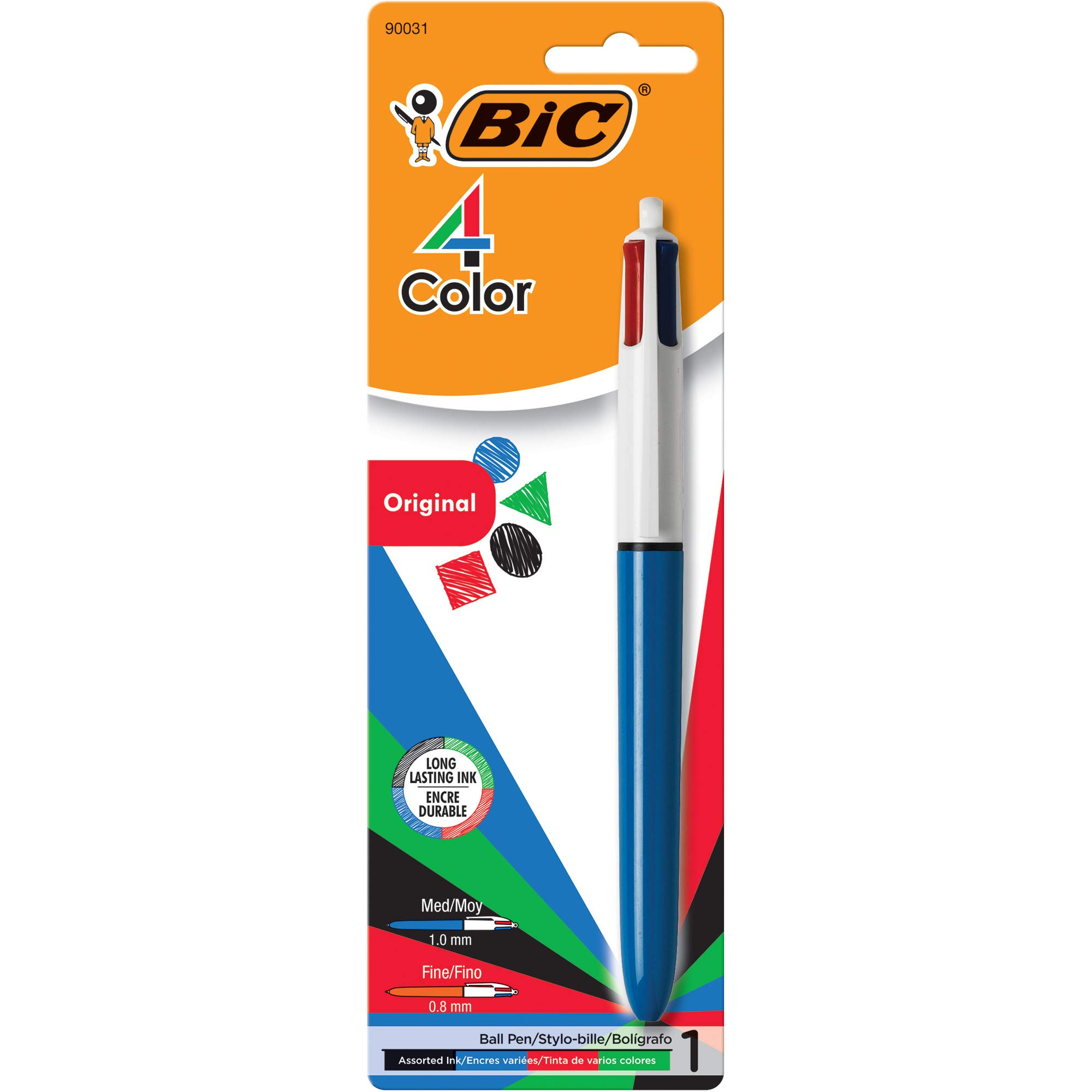 Bic Medium Point Ball Pen, 4 Colors, Assorted Ink