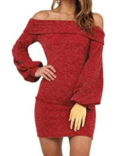 8c43fb592eb Yizenge Women's Long Puff Sleeve Off Shoulder Bodycon Knit Sweater Dress
