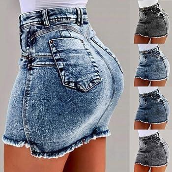 CCatyam - Falda vaquera para mujer de bolsillo de cintura alta ...