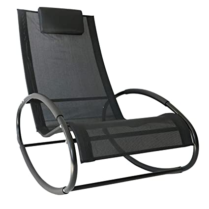 Remarkable Outsunny Patio Rocking Lounge Chair Orbital Zero Gravity Seat Pool Chaise W Pillow Black Ocoug Best Dining Table And Chair Ideas Images Ocougorg
