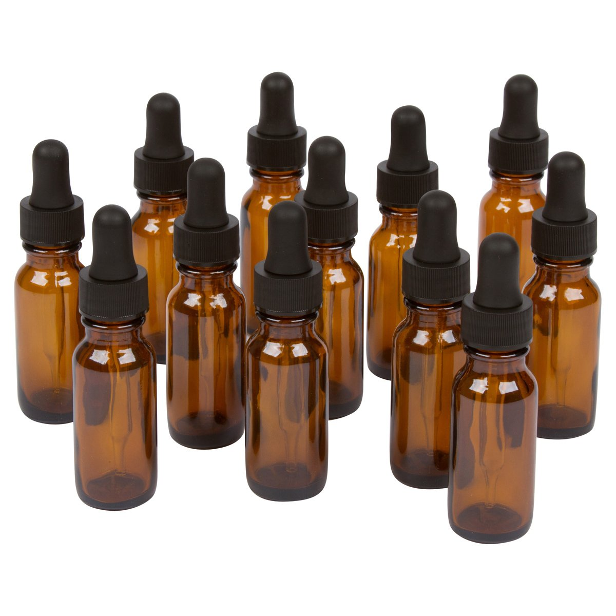 Amber Boston Round Bottles for Essential Oils and Liquids with Black Rubber Bulb Glass Droppers, 15 ml, Pack of 12