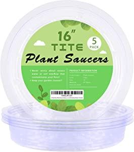 5 Pack Clear Plant Saucer Heavy Duty Sturdy Drip Trays for Indoor and Outdoor Plants (16 inch)