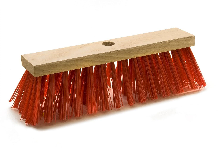 Kingdiscount® 10 Stück Straßenbesen, 29 cm, Flachholz, Elaston rot Kingdiscount®