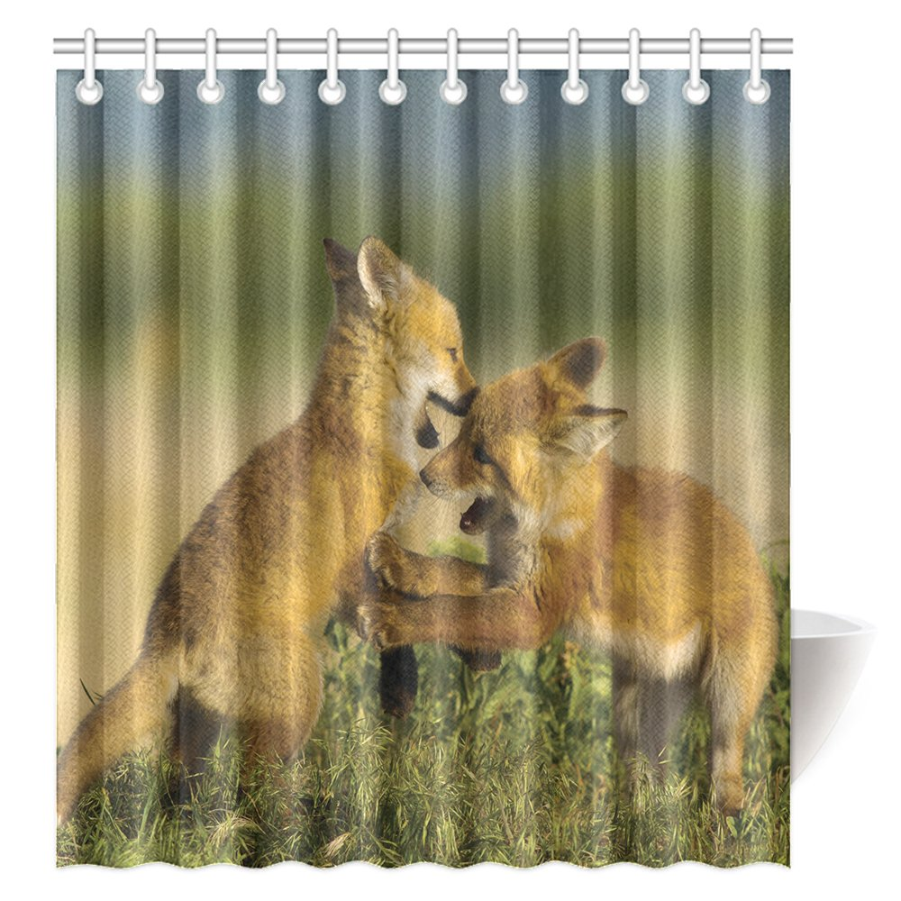 CTIGERS Animal Theme Shower Curtain for Kids Two Little Fox Playing Polyester Fabric Bathroom Decoration 66 x 72 Inch