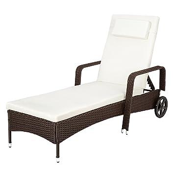 TecTake Chaise Longue En Aluminium Et Rsine Tresse Avec Accoudoirs Roues