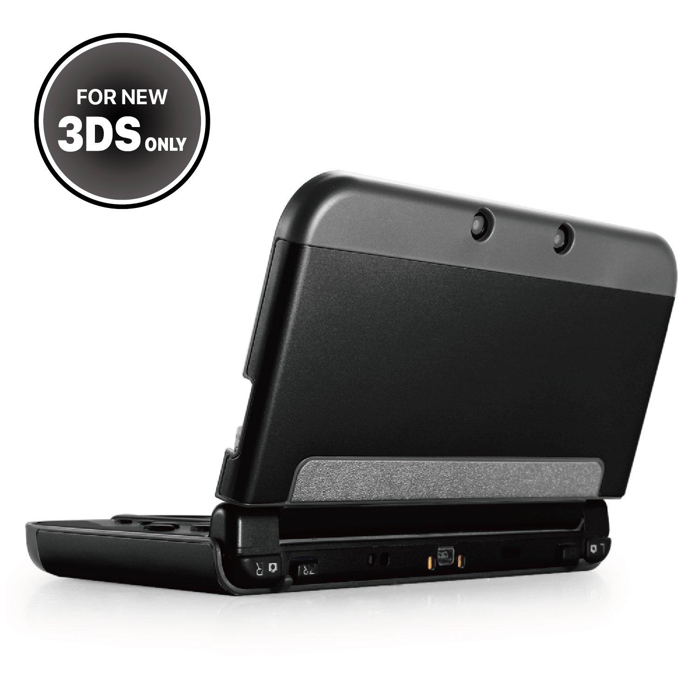 TNP New 3DS Case (Black) - Plastic + Aluminium Full Body Protective Snap-on Hard Shell Skin Case Cover for New Nintendo 3DS 2015 - [New Modified Hinge-less Design]