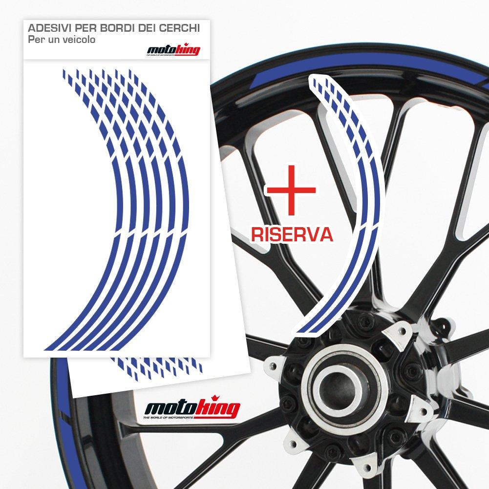 Progettazione Grafica Motoking Adesivi per Il Bordo del cerchione GP Kit Completo per Cerchioni da 15 a 19 Colore a Scelta