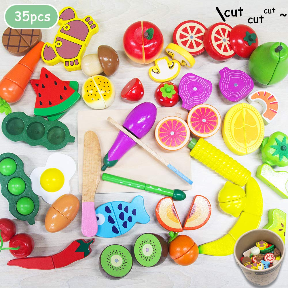 Cutting cooking food toy - 35PCS kitchen Play Food wooden Magnetic Pretend Play Set Educational Toy Fruits Vegetables For children Learning Gift for 2, 3, 4 Year Old Kids, Toddlers, Boys & Girls