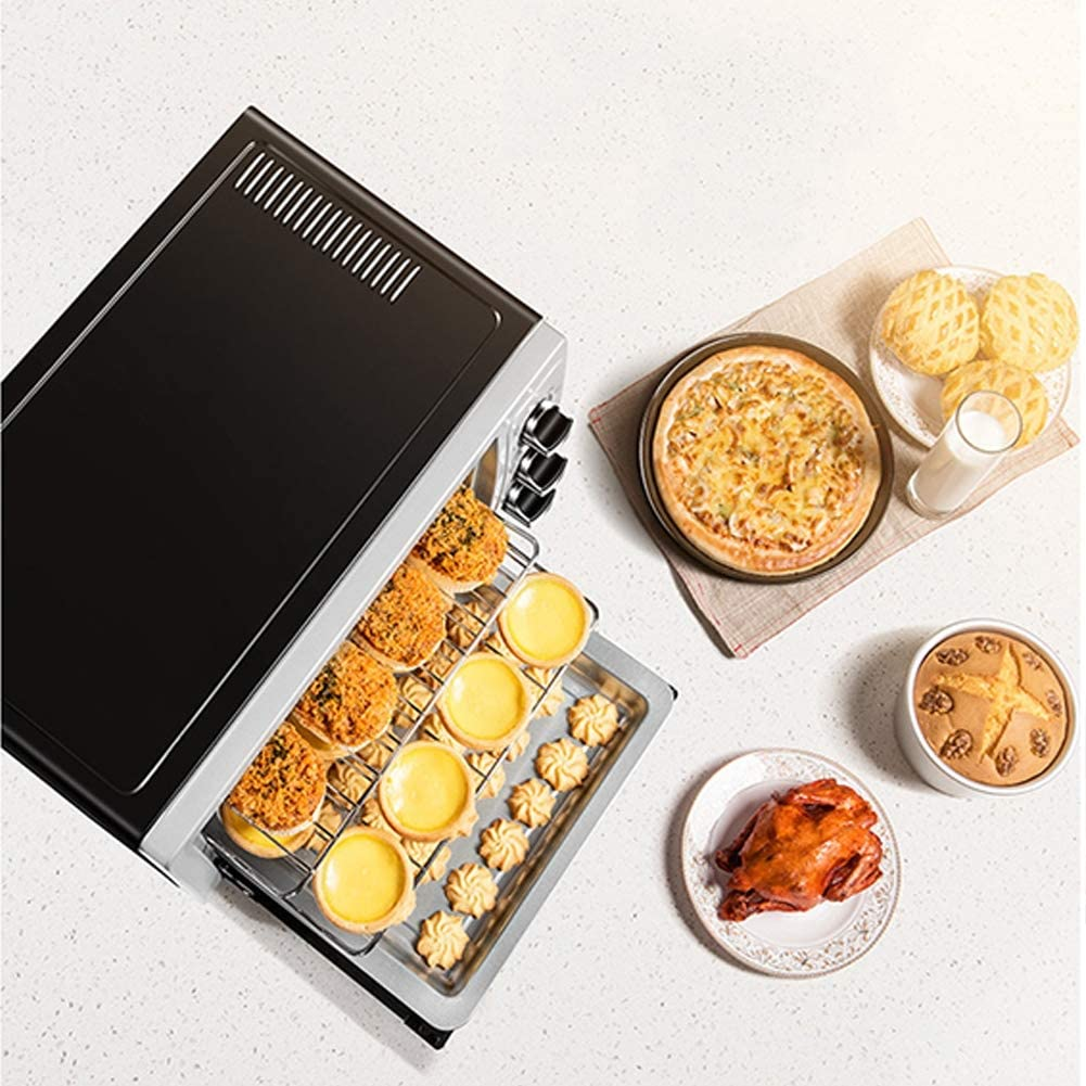 30L Mini Electric Oven Induction Cooker Grill with 3 Cooking Functions Adjustable Temperature Control and Timer User-Friendly Knob Design Silver 1500W