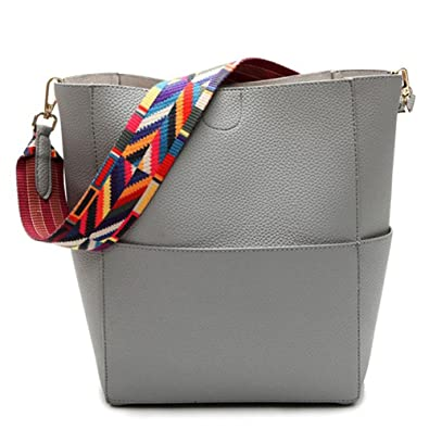 8c794e76b30c JIARUO Designer Bucket Bag Women Leather Wide Strap Shoulder Bag Handbag  (Grey)