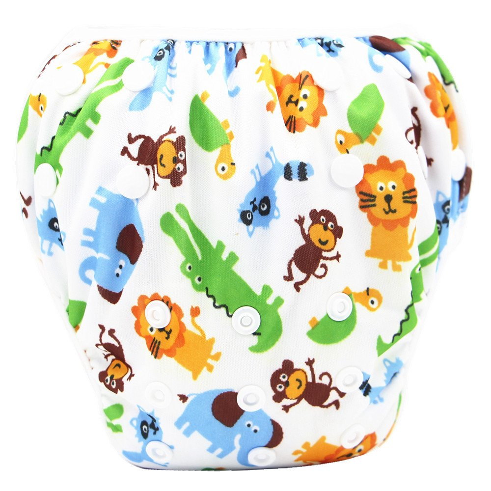 Baby Swim Diaper, Kingko Waterproof Adjustable Cloth Diapers Pool Pant Oh baby Swimming Diaper Cover Reusable Washable Baby Nappies (E) Kingko_