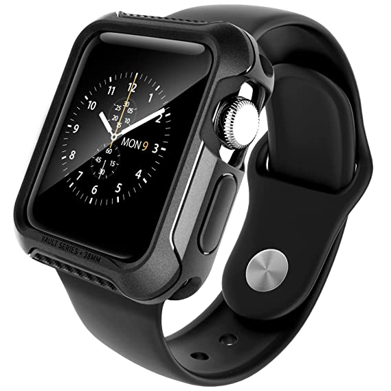 newest collection a834d a322f Caseology Vault for Apple Watch Case Series 2-38mm Case (2015) - Rugged &  Flexible - Matte Black