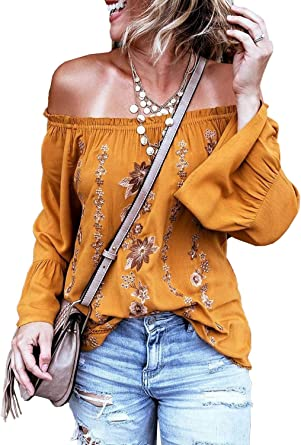 FIYOTE - Camiseta de manga larga para mujer, color mostaza ...