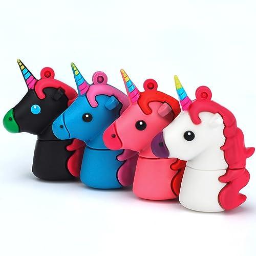 LEIZHAN Cute Unicorn Horse U Stick 16GB Cartoon Memory Stick Colorful Funny Gift USB Flash Drive USB 2.0 Thumb Drive with White Blue Red Black Color Data Storage Pendrive 4Pcs