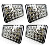 TURBO SII DOT Approved 4X6 LED Headlight Assemblies Hi/Lo Sealed Beam Replace H4651 H4656 Bulb Headlamps for KW Kenworth…