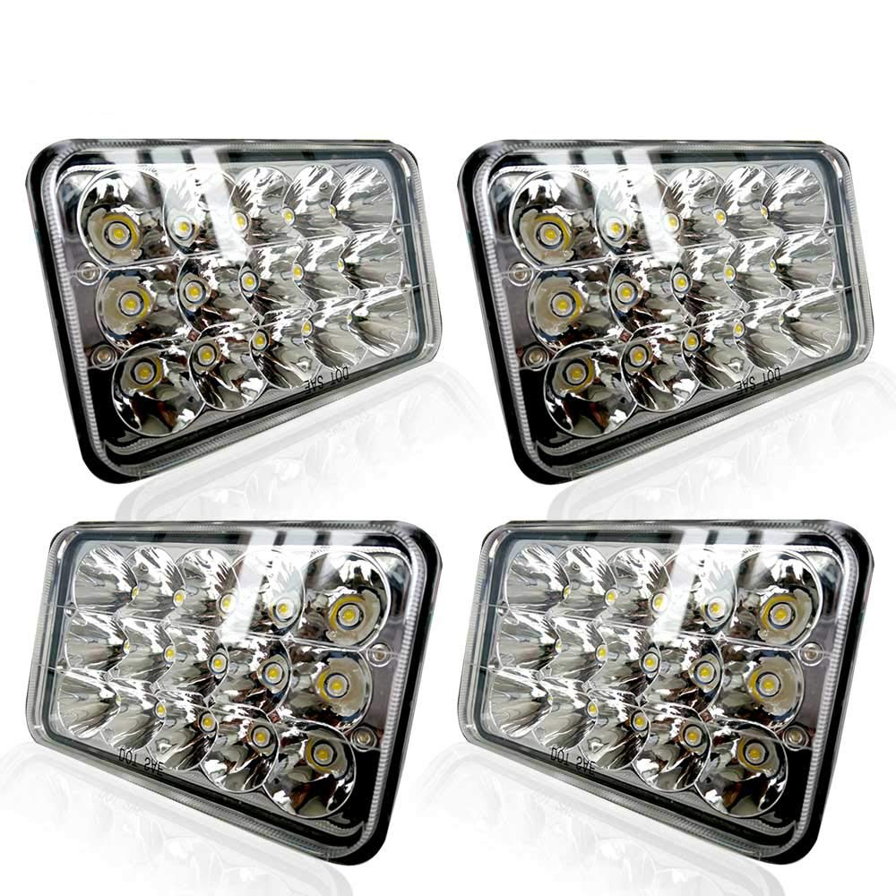 Turbosii Dot Approved 4x6 Led Headlight Assemblies Hi Lo H6545 Wiring Diagram Sealed Beam Replace H4651 H4656 Hid Bulb Headlamps Kw Kenworth T600 W900 T800 Truck