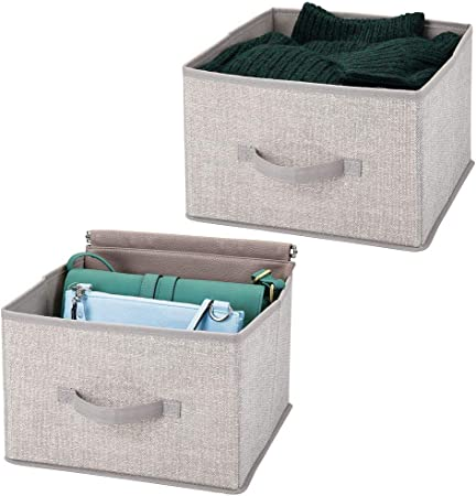 mDesign Juego de 2 organizadores para armarios de tela – Cajas de tela para ordenar armarios – Cajas organizadoras para ropa, mantas y otros accesorios – gris claro: Amazon.es: Hogar