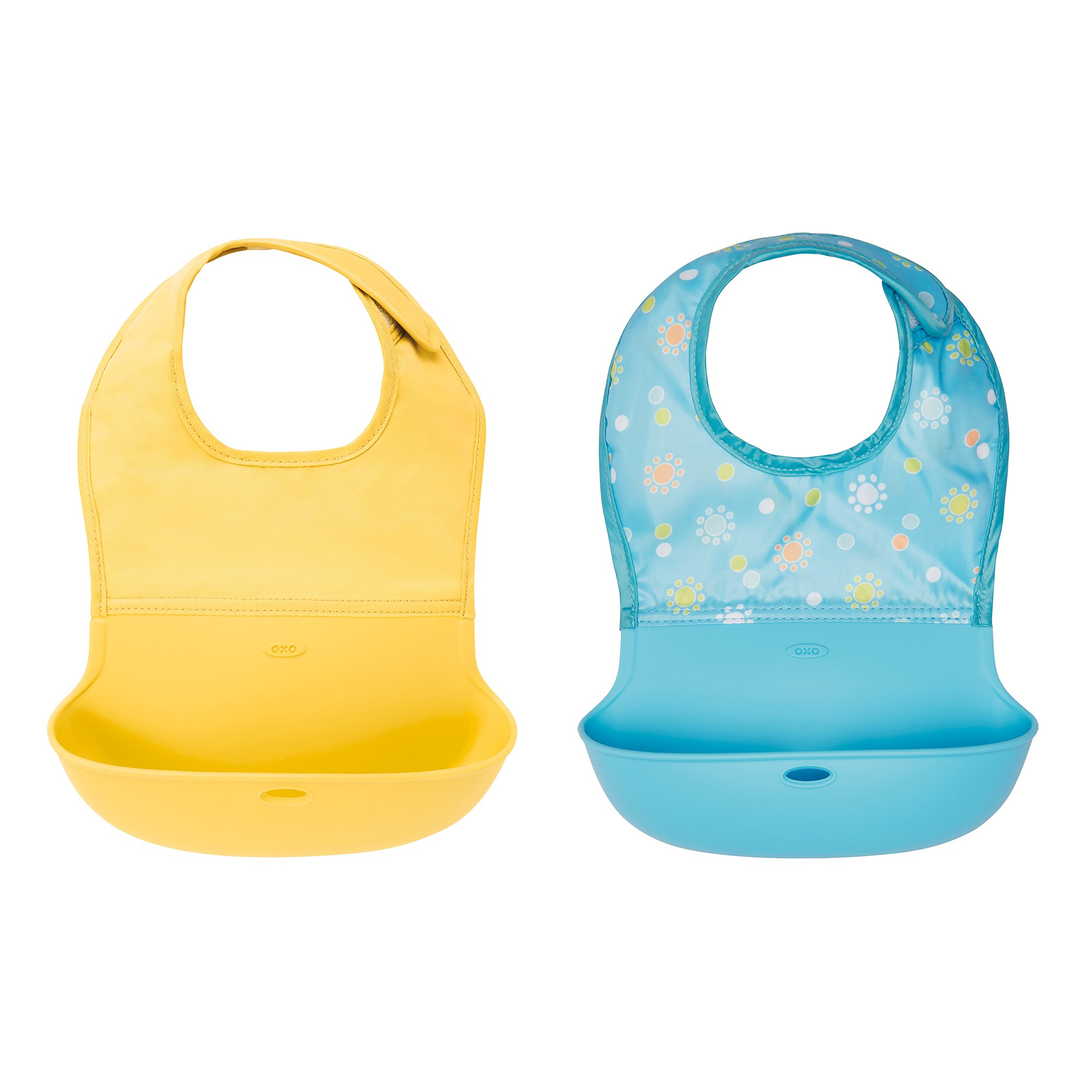 OXO TOT Waterproof Silicone Roll up Bib with Comfort-Fit Fabric Neck, 2 Pack, Yellow/Aqua Pattern