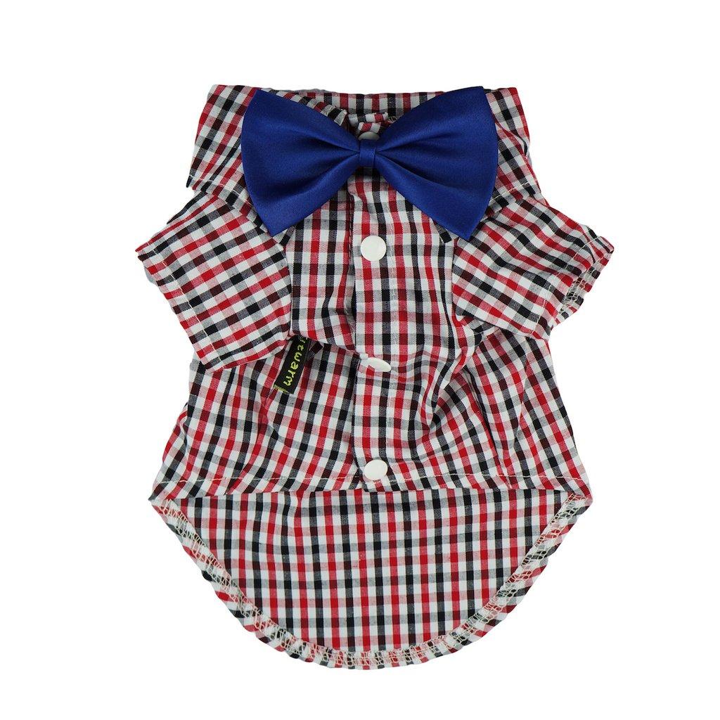Fitwarm Western Plaid Shirts for Dog Clothes Pet Polo Apparel + Wedding Bow, Red, XXXL